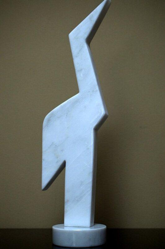 tall fishing bird marble sculpture