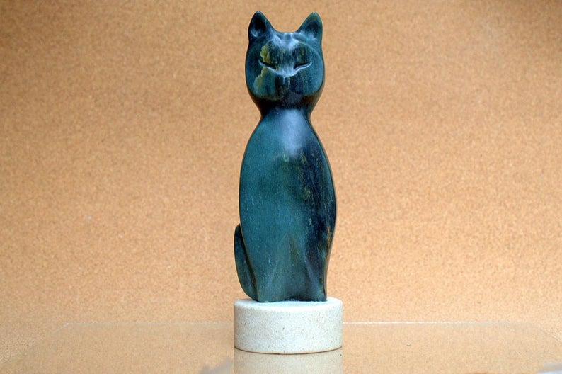 Soapstone abstract, shiny green cat figurine