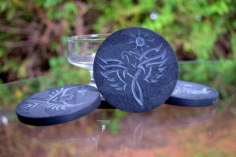 Stone drink coasters, hand carved, black slate