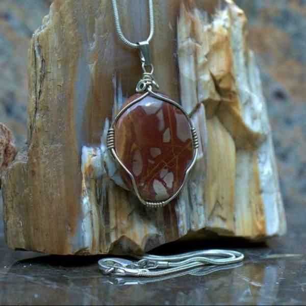 Noreena jasper pendant, oval gemstone necklace
