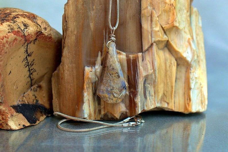 Plume Agate pendant, good luck stone talisman