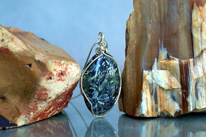 Chinese writing stone, silver wire wrap pendant