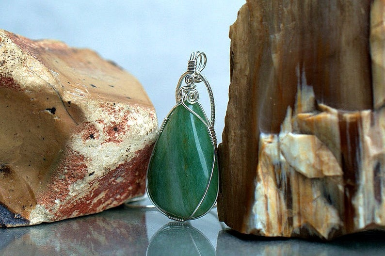 Aventurine necklace, lucky stone pendant jewelry