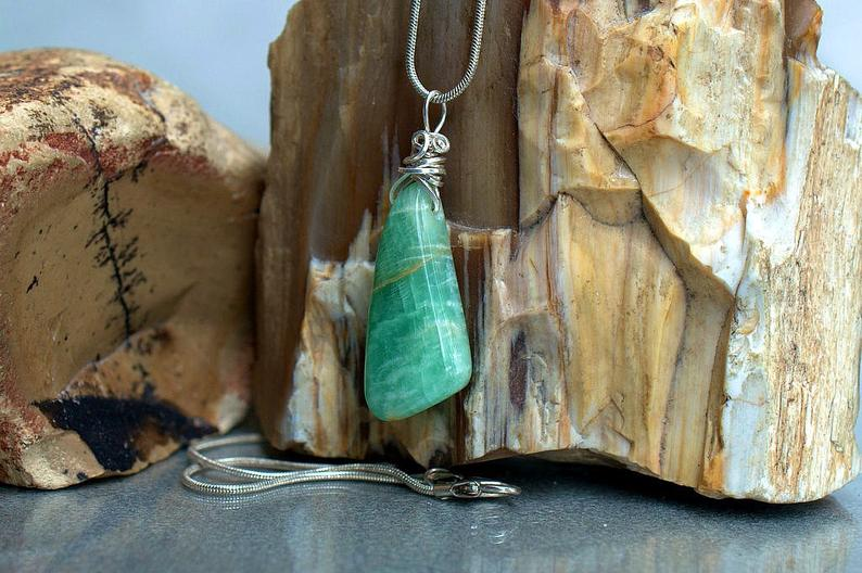 The stone of truth, green crystal Amazonite