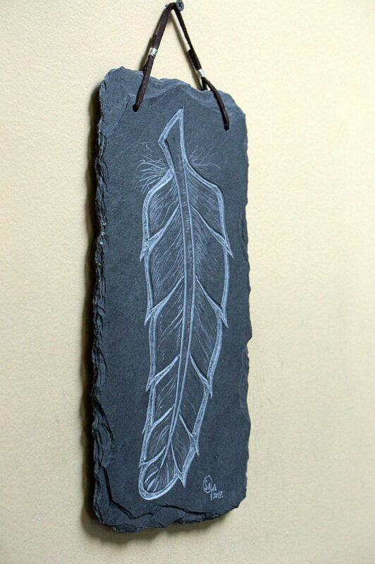 Feather wall hanger, stone carving home decor