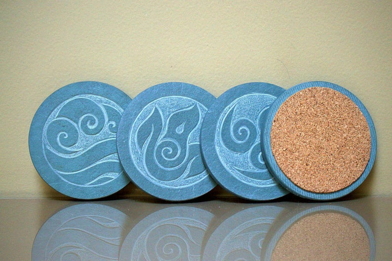 Four Element symbols, green Slate stone coasters