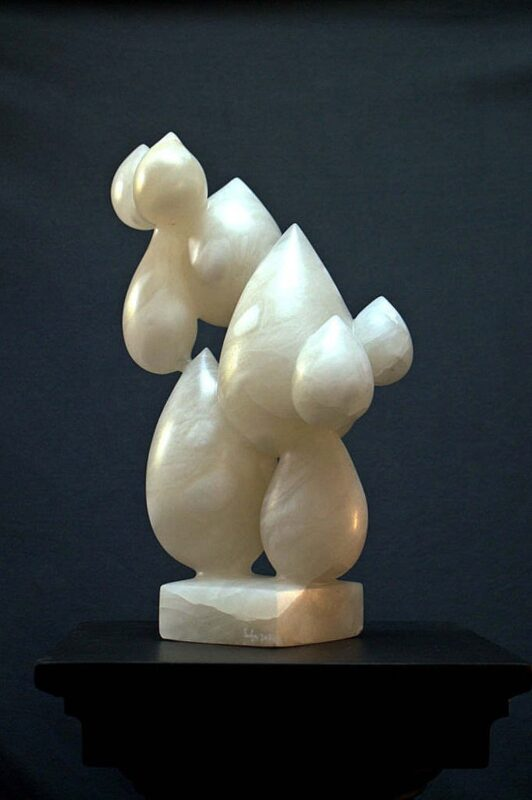 White alabaster stone modern art sculpture