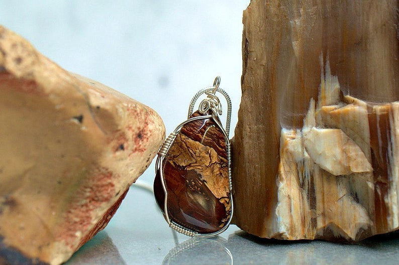 Biggs Jasper, natural gemstone polished pendant
