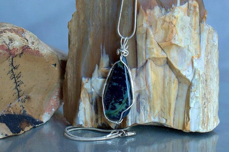 Capricorn birthstone, large blue mineral pendant