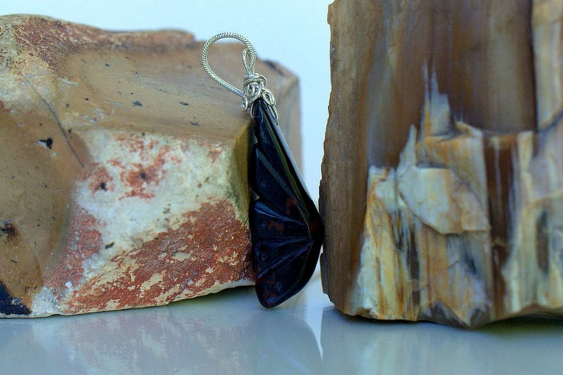 Carved stone pendant, Mahogany Obsidian necklace
