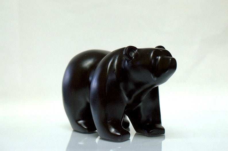 Black stone bear, hand carved polished figurine