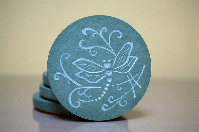 Dragonfly, slate stone, hand carved coasters