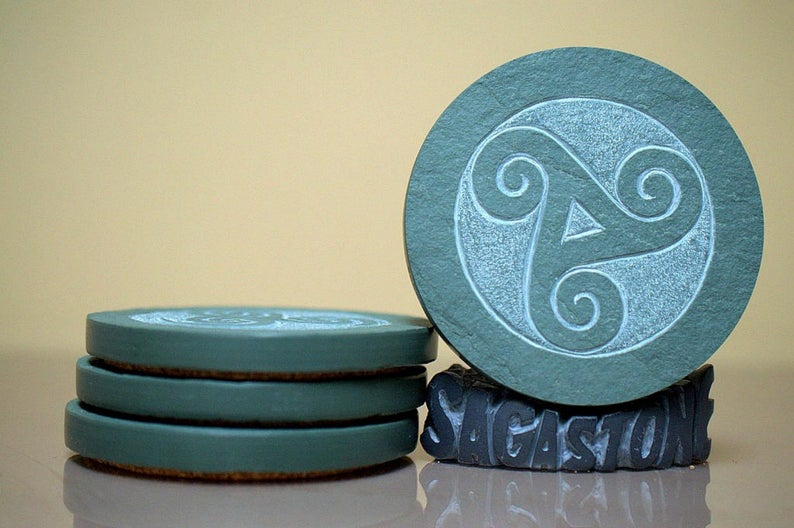 Hand carved, Celtic symbol,Green Slate coasters