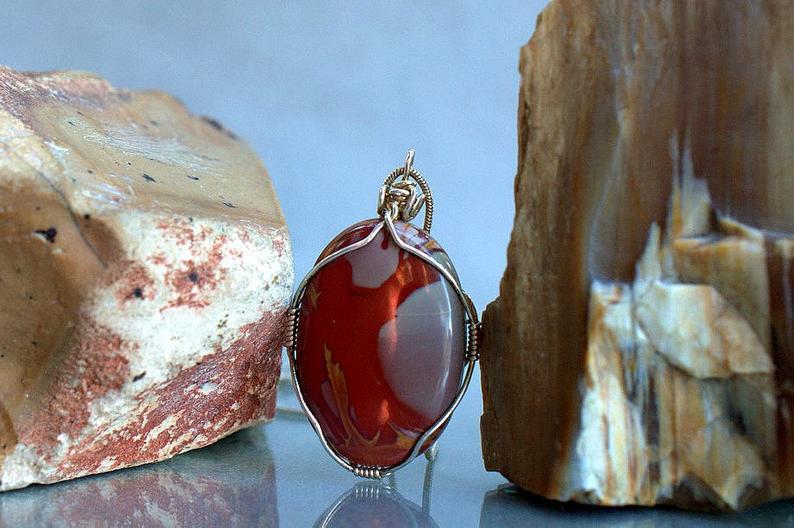 Banded red stone, Noreena Jasper oval pendant