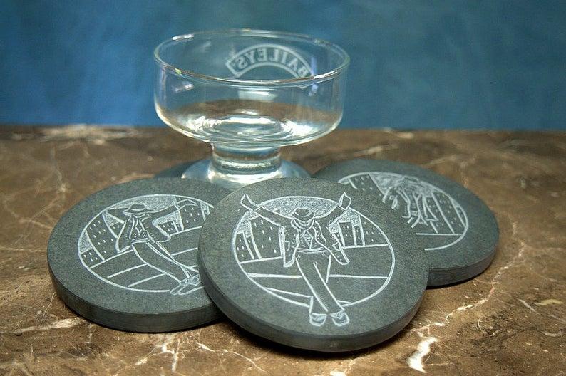 Michael Jackson moonwalk carved stone coasters