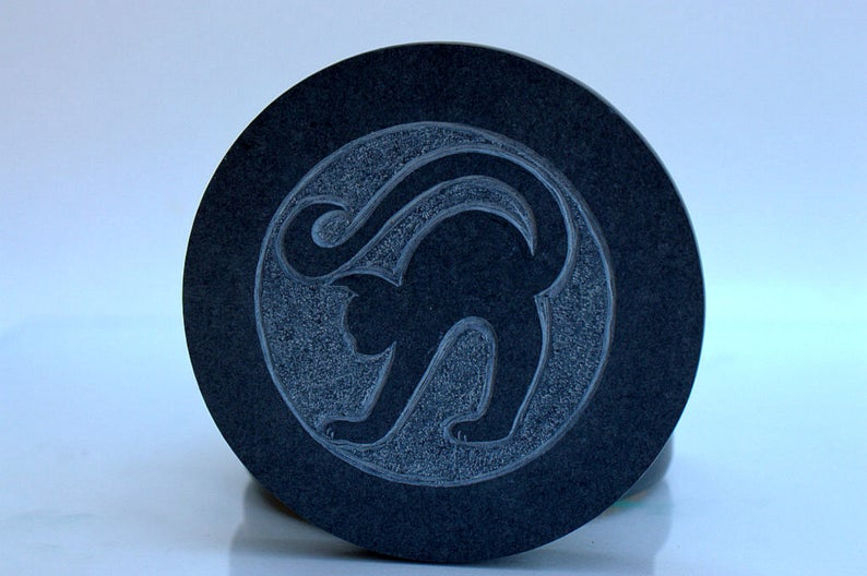 Black cat, hand carved, Slate stone coasters