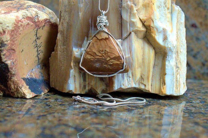 Brown stone, Jasper pendant, gemstone necklace