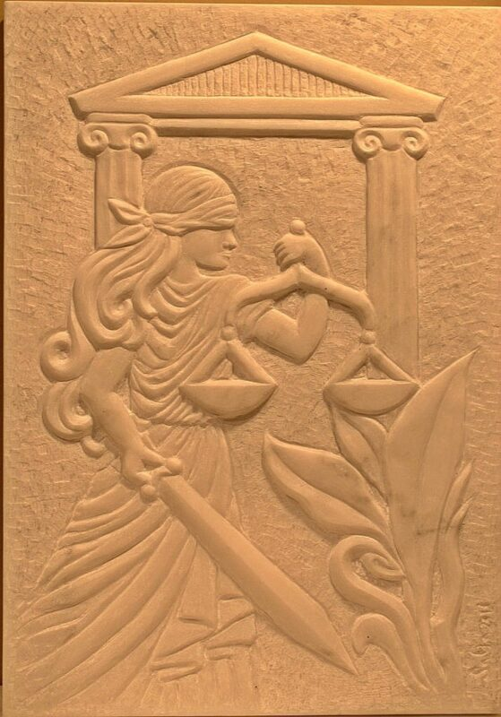 Chiseled art relief, white marble wall panel