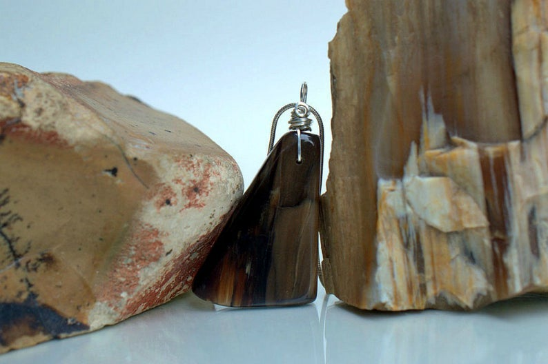 Drilled petrified wood with silver wire setting