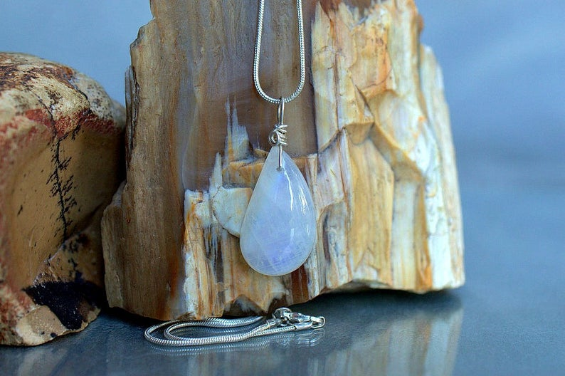Teardrop shape charm, rainbow Moonstone necklace
