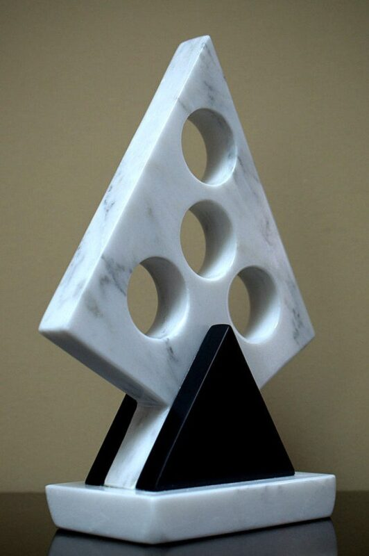 Black and white modern art abstract sculpture