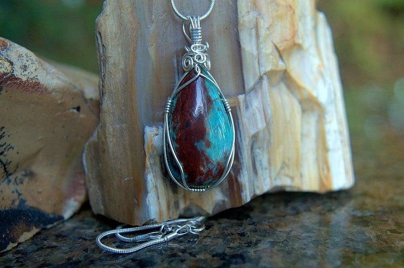 Arizona Chrysocolla, light blue mineral pendant