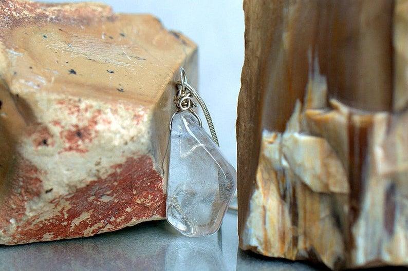 Clear Quartz pendant silver set crystal necklace