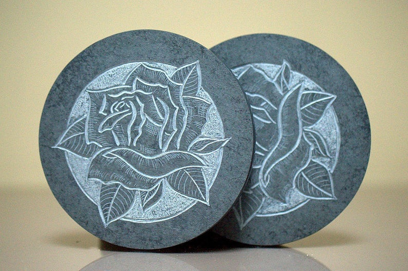 Black Rose, hand carved stone, drink coaster set