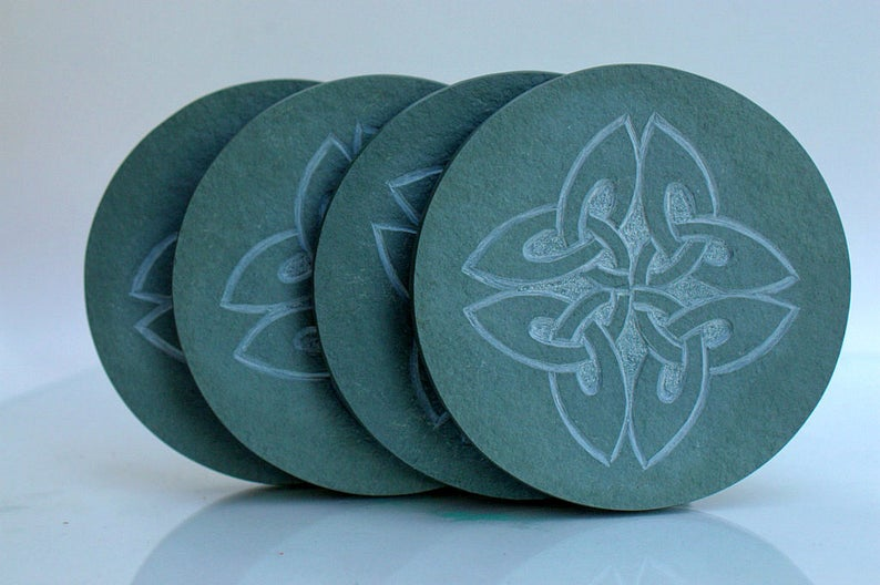 Four leaf clovers, Celtic symbols stone coasters