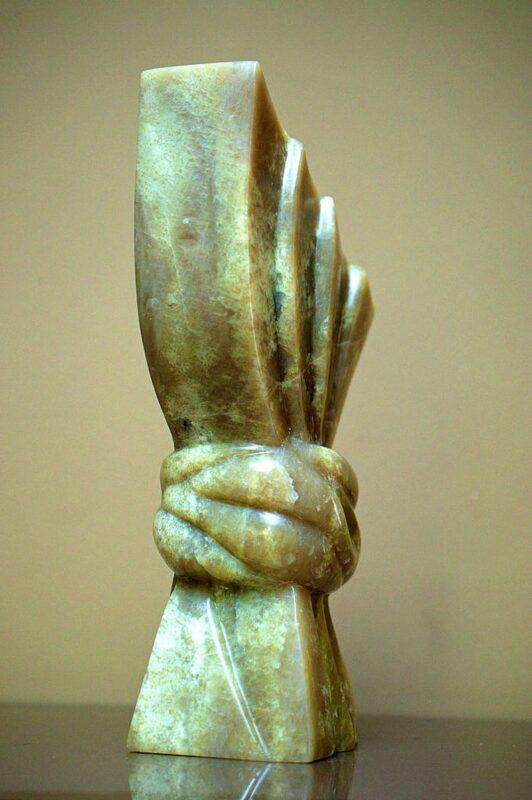 Light green stone art, contemporary sculpture