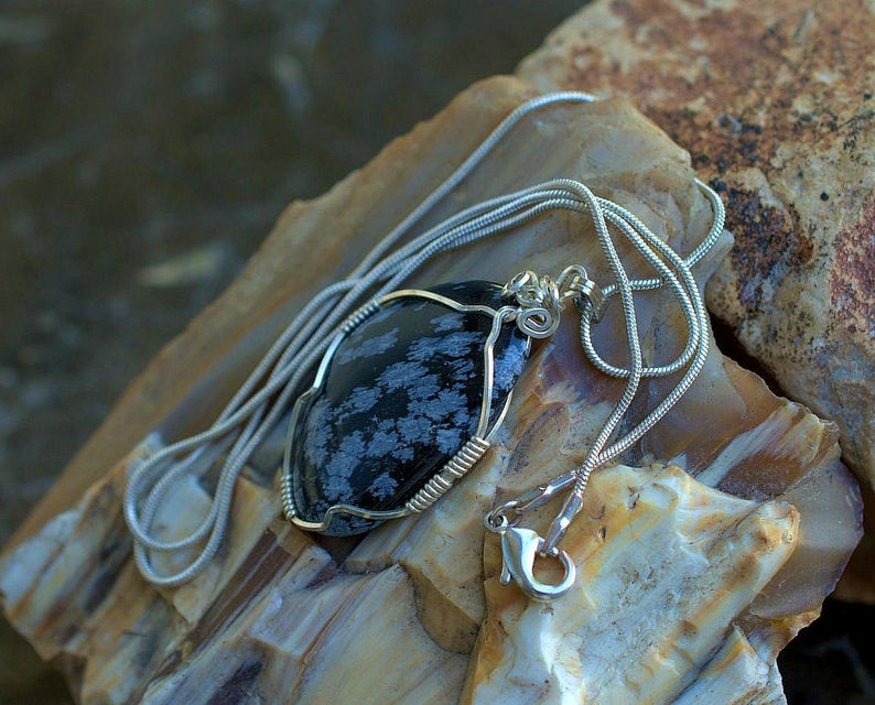 Black volcanic glass Snowflake Obsidian necklace
