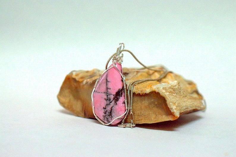 Rhodonite pendant, natural pink crystal jewelry