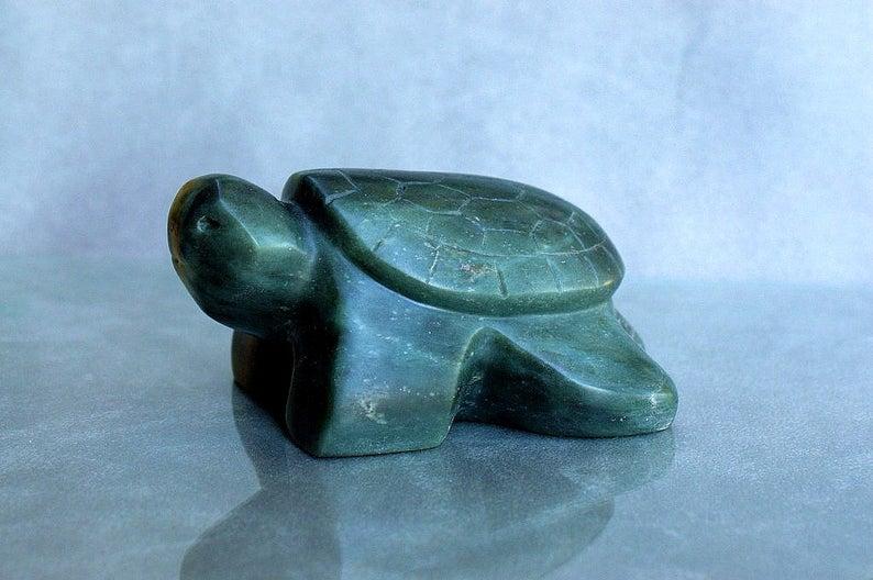 Turtle carving, soapstone figurine, sculpture