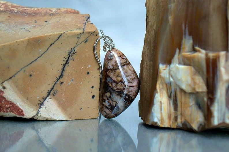 Forgiveness stone, Rhodonite pendant necklace