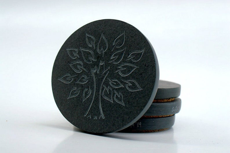 Tree of life symbol, hand carved, stone coasters