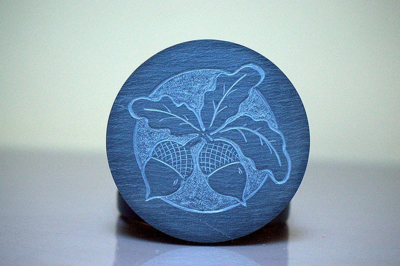 Hand carved,Acorn design Slate stone coasters