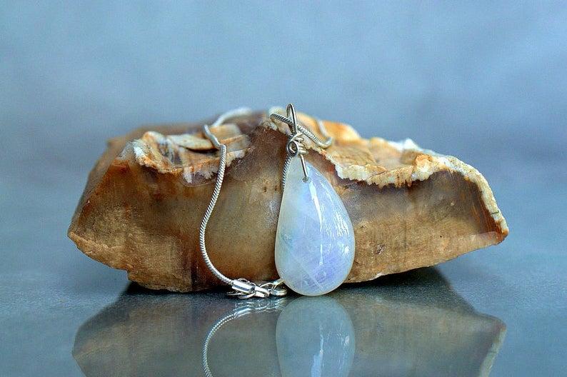 Teardrop shape charm, rainbow Moonstone necklace
