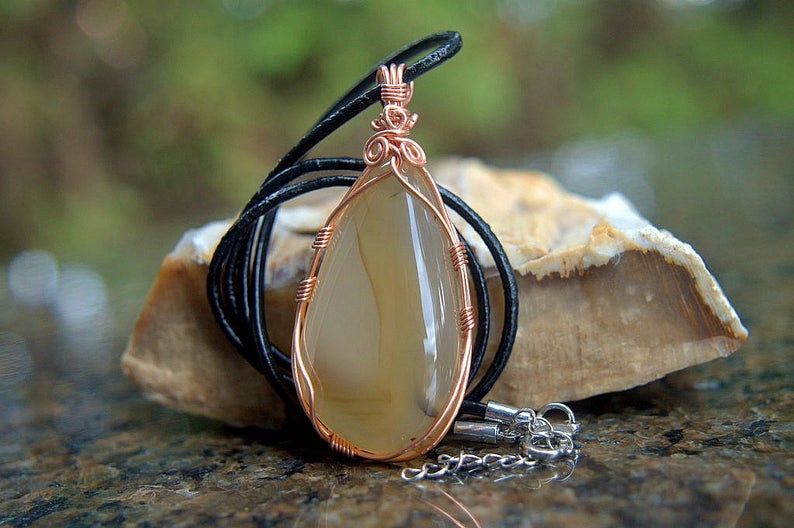 Copper wire wrap Montana agate gemstone pendant
