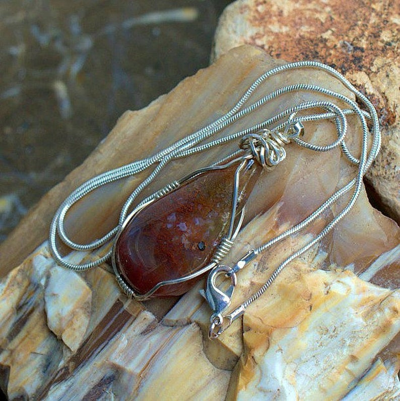 Red natural stone, organic Moss agate pendant