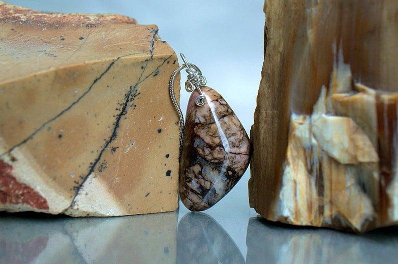 Rhodonite charm pendant