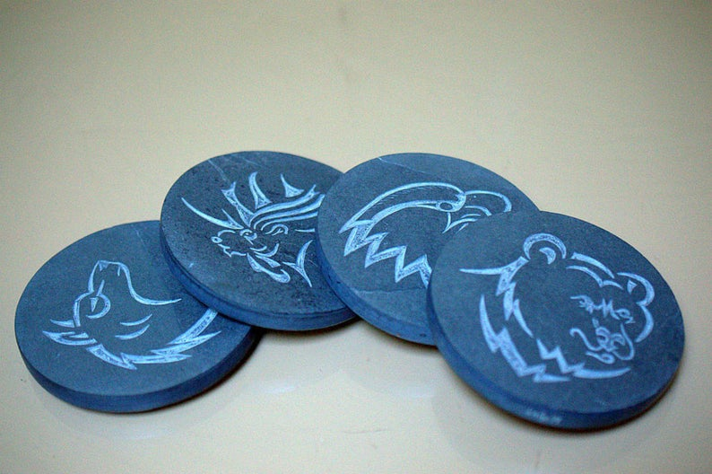 Black Slate coasters, hand carved wild life