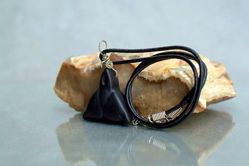 Carved stone fantasy, Argillite talisman pendant