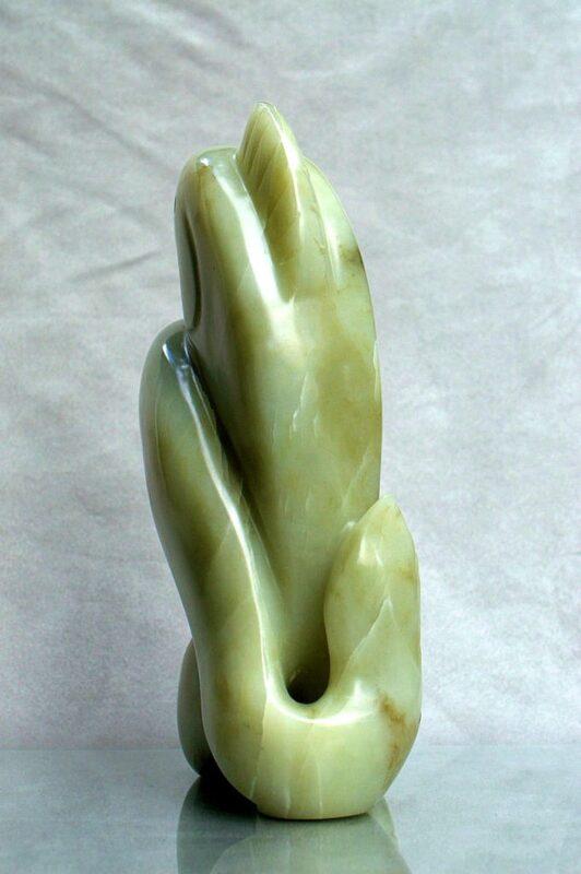 Abstract stone art, original,salmon sculpture