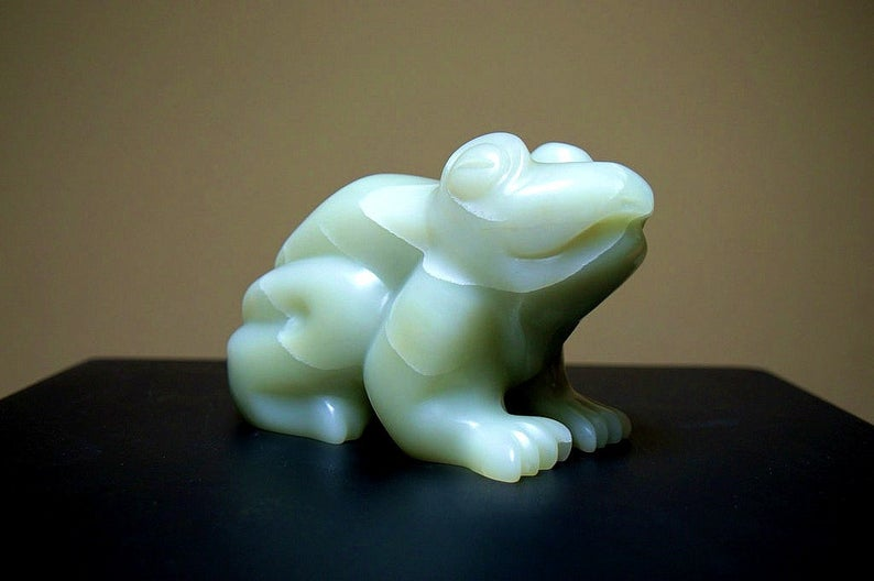 Green frog sculpture, heavy soapstone figurine