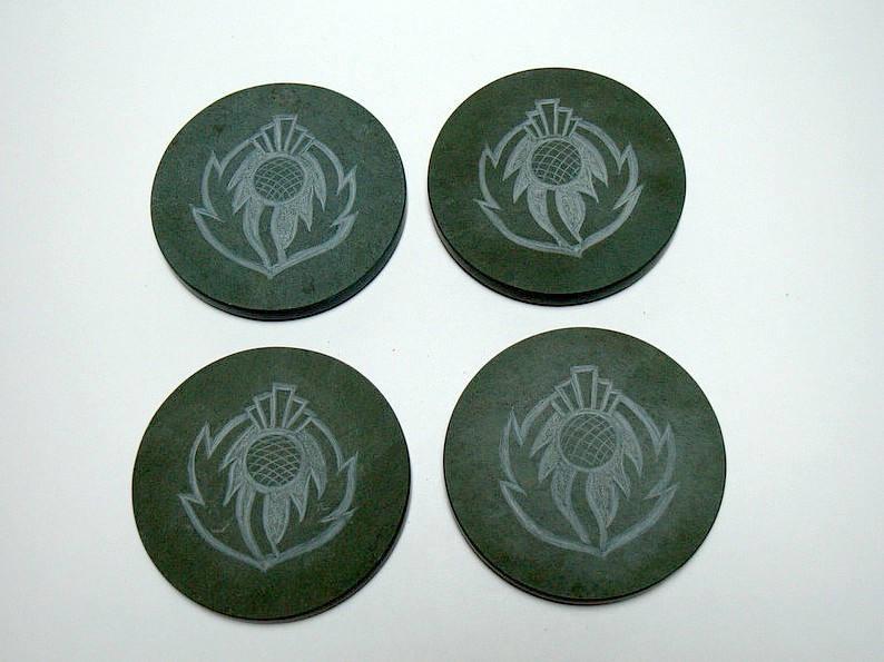 Scottish symbol, thistle design, stone coasters