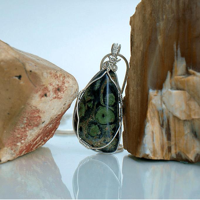 green jasper stone pendant