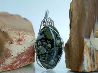 Black base color jasper type stone pendant necklace