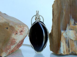 Oval shape black Jade pendant necklace