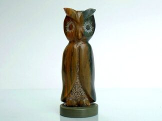"Green brown 5"" tall abstract owl ston figurine"