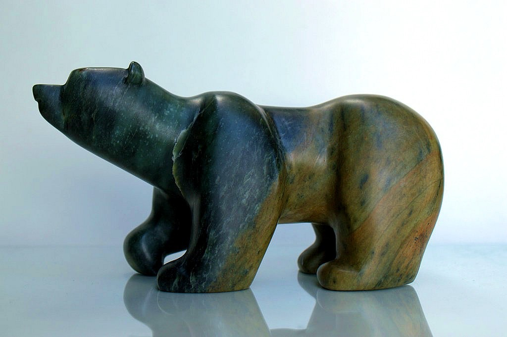 Large green brown bear soapstone carving